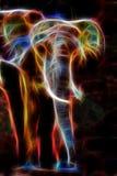 Αφρικανική επίδραση ελεφάντων και fractal στο μαύρο υπόβαθρο Στοκ Εικόνες