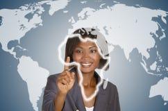 Αφρικανική επιχειρησιακή γυναίκα, κοινωνικό δίκτυο Στοκ Εικόνες