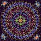 Αφρικανική, ινδική διακόσμηση Κυκλικό σχέδιο μέσα Στοκ φωτογραφία με δικαίωμα ελεύθερης χρήσης