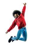 Αφρικανική χορεύοντας σκιαγραφία χορευτών ατόμων που απομονώνεται Στοκ Εικόνες