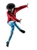 Αφρικανική χορεύοντας σκιαγραφία χορευτών ατόμων που απομονώνεται Στοκ εικόνα με δικαίωμα ελεύθερης χρήσης
