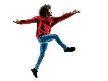 Αφρικανική χορεύοντας σκιαγραφία χορευτών ατόμων που απομονώνεται Στοκ Εικόνα
