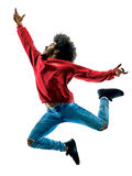 Αφρικανική χορεύοντας σκιαγραφία χορευτών ατόμων που απομονώνεται Στοκ φωτογραφία με δικαίωμα ελεύθερης χρήσης