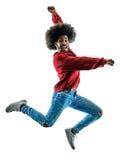 Αφρικανική χορεύοντας σκιαγραφία χορευτών ατόμων που απομονώνεται Στοκ εικόνες με δικαίωμα ελεύθερης χρήσης