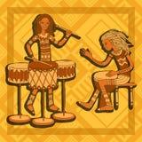 αφρικανικοί τυμπανιστές Φορείς κρούσης μουσική φυλετική Στοκ Εικόνα