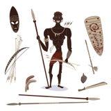 Αφρικανικός αυτόχθων κυνηγός Στοκ εικόνα με δικαίωμα ελεύθερης χρήσης