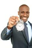 Αφρικανικός επιχειρηματίας με το ρολόι, χρονική έννοια Στοκ φωτογραφία με δικαίωμα ελεύθερης χρήσης