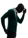 Αφρικανικός μαύρος που σκέφτεται τη σκεπτική ενοχλημένη σκιαγραφία Στοκ εικόνα με δικαίωμα ελεύθερης χρήσης