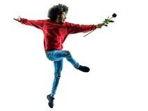 Αφρικανικό άτομο που προσφέρει τη σκιαγραφία λουλουδιών που απομονώνεται Στοκ Φωτογραφίες