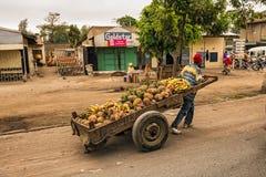 Αφρικανικό άτομο που τραβά ένα σύνολο κάρρων των φρούτων Στοκ Εικόνες