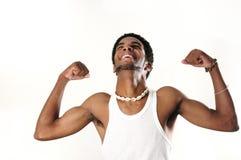 αφρικανικό ευτυχές άτομο μυϊκό στοκ φωτογραφία με δικαίωμα ελεύθερης χρήσης