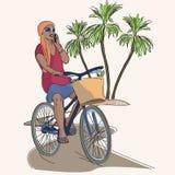 Αφρικανικό οδηγώντας ποδήλατο κοριτσιών και ομιλία ενός τηλεφώνου διανυσματική απεικόνιση