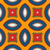 Αφρικανικό σχέδιο επιφάνειας ύφους άνευ ραφής με τους αφηρημένους αριθμούς Φωτεινή εθνική και φυλετική τυπωμένη ύλη με τις γεωμετ διανυσματική απεικόνιση