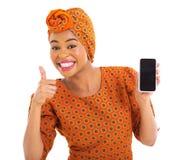 Αφρικανικό τηλέφωνο κυττάρων κοριτσιών Στοκ Εικόνες