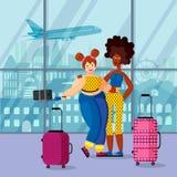 Αφροαμερικάνος δύο ο θηλυκός ταξιδιωτών και ευρωπαϊκά κάνει selfie στον αερολιμένα διανυσματική απεικόνιση