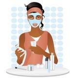 Αφροαμερικανός κορίτσι με την καλλυντική μάσκα διανυσματική απεικόνιση