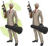 Αφροαμερικανός mafioso κινούμενων σχεδίων με το Tommy-πυροβόλο όπλο Στοκ Φωτογραφία