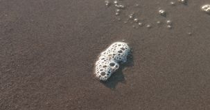 Αφρός σε μια αμμώδη παραλία απόθεμα βίντεο