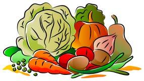 λαχανικά προϊόντων φρέσκιας αγοράς γεωργίας διανυσματική απεικόνιση