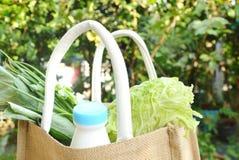 λαχανικό και γάλα στο καλάθι υφάσματος καλύτερα από τη χρησιμοποιημένη πλαστική τσάντα Στοκ φωτογραφίες με δικαίωμα ελεύθερης χρήσης