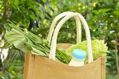 λαχανικό και γάλα στο καλάθι υφάσματος καλύτερα από τη χρησιμοποιημένη πλαστική τσάντα Στοκ φωτογραφία με δικαίωμα ελεύθερης χρήσης