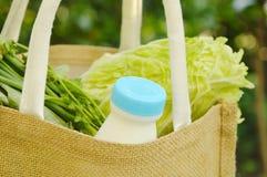 λαχανικό και γάλα στο καλάθι υφάσματος καλύτερα από τη χρησιμοποιημένη πλαστική τσάντα Στοκ εικόνα με δικαίωμα ελεύθερης χρήσης