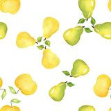 αχλάδια Άνευ ραφής σχέδιο τροφίμων, χρωματισμένο watercolor με το χέρι στοκ φωτογραφίες