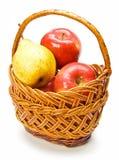 αχλάδια καλαθιών μήλων Στοκ Εικόνα
