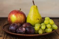Αχλάδι δαμάσκηνων μήλων σταφυλιών πιάτων φρούτων στοκ εικόνα