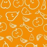 Αχλάδια και άνευ ραφής σχέδιο μήλων διάνυσμα Στοκ εικόνες με δικαίωμα ελεύθερης χρήσης