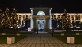 Αψίδα Chisinau του θριάμβου που διακοσμείται για τις χειμερινές διακοπές στοκ φωτογραφίες με δικαίωμα ελεύθερης χρήσης
