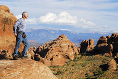 αψίδες που εξερευνούν το εθνικό πάρκο ΗΠΑ Utah Στοκ Φωτογραφίες