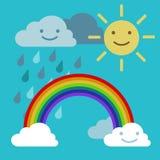 Αψίδα ίριδων ουράνιων τόξων αντικειμένων, ήλιος και διάνυσμα σύννεφων βροχής Στοκ εικόνες με δικαίωμα ελεύθερης χρήσης