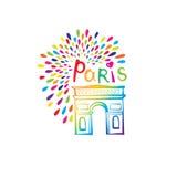Αψίδα θριάμβου σημαδιών του Παρισιού Γαλλικό διάσημο ορόσημο Arc de Triomphe Απεικόνιση της Γαλλίας ταξιδιού Στοκ Φωτογραφία