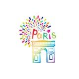 Αψίδα θριάμβου σημαδιών του Παρισιού Γαλλικό διάσημο ορόσημο Arc de Triomphe Κάρτα της Γαλλίας ταξιδιού Στοκ Φωτογραφία