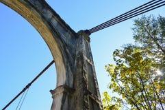 Αψίδα και καλώδια ιστορικής Αλεξάνδρας Bridge στη Βρετανική Κολομβία, Καναδάς Στοκ Φωτογραφία