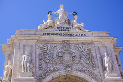 Αψίδα οδών του Αουγκούστα αποκαλούμενο η Λισσαβώνα Arco DA Rua Αουγκούστα Στοκ Φωτογραφία