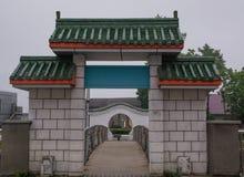 Αψίδα που διακοσμείται με την πράσινη κινεζική στέγη Στοκ εικόνα με δικαίωμα ελεύθερης χρήσης
