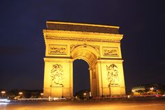 Αψίδα του θριάμβου στο Παρίσι τη νύχτα Στοκ εικόνα με δικαίωμα ελεύθερης χρήσης