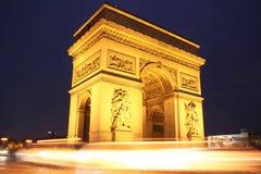 Αψίδα του θριάμβου στο Παρίσι τη νύχτα Στοκ Φωτογραφία