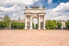 Αψίδα Arco ειρήνης του ρυθμού della στο Μιλάνο Στοκ Εικόνα