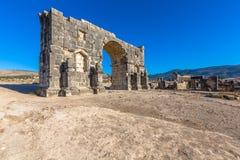 Αψίδα Caracalla σε Volubilis, Μαρόκο Στοκ Φωτογραφία