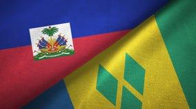 Αϊτή και Άγιος Βικέντιος και Γρεναδίνες δύο υφαντικό ύφασμα σημαιών απεικόνιση αποθεμάτων