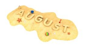 Αύγουστος - λέξη από την άμμο διανυσματική απεικόνιση