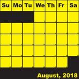 2018 Αύγουστος κίτρινος στο μαύρο ημερολόγιο αρμόδιων για το σχεδιασμό διανυσματική απεικόνιση