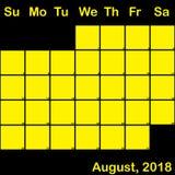 2018 Αύγουστος κίτρινος στο μαύρο ημερολόγιο αρμόδιων για το σχεδιασμό μεγάλο απεικόνιση αποθεμάτων