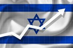 Αύξηση βελών επάνω στο υπόβαθρο της σημαίας του Israe Στοκ Εικόνες