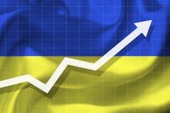 Αύξηση βελών επάνω στο υπόβαθρο της σημαίας του Ukrai Στοκ εικόνες με δικαίωμα ελεύθερης χρήσης