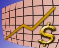 αύξηση γραφικών παραστάσεων δολαρίων Στοκ Εικόνα