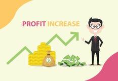 Αύξηση κέρδους με το επιχειρησιακό άτομο που στέκεται με την αύξηση χρημάτων και γραφικών παραστάσεων απεικόνιση αποθεμάτων